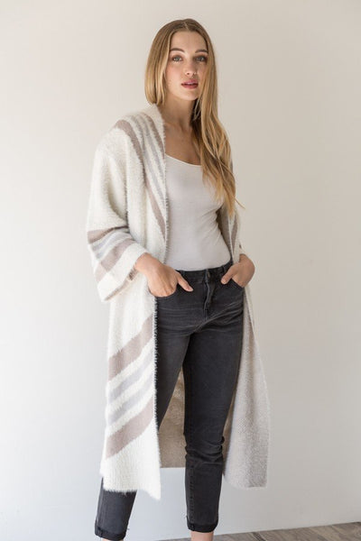Chevron Striped Open Cardi Mystree Canada