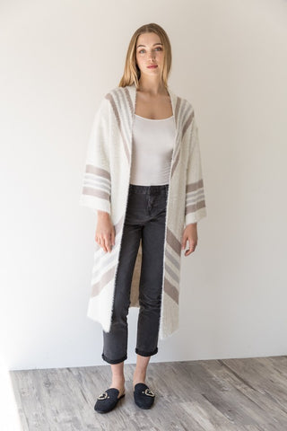 Chevron Striped Open Cardi
