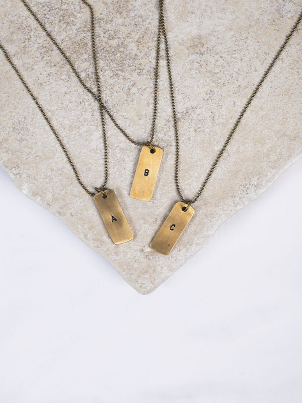 Brass DogTag Necklace Brass Jewelry - The Post Office by Shannon Passero. Fashion Boutique in Thorold, Ontario