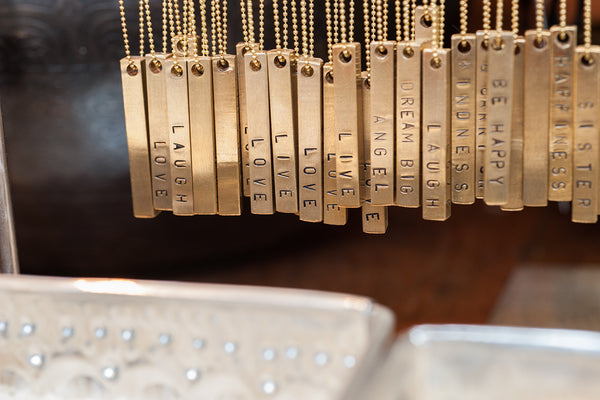 Brass Block Necklace Brass Jewelry - The Post Office by Shannon Passero. Fashion Boutique in Thorold, Ontario
