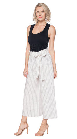 Striped Linen Wide Leg Crop Last Tango