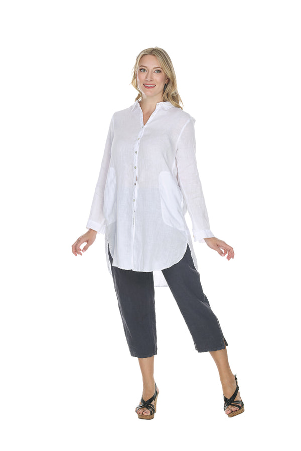 Linen Collar Button Up Blouse Linen - The Post Office by Shannon Passero. Fashion Boutique in Thorold, Ontario