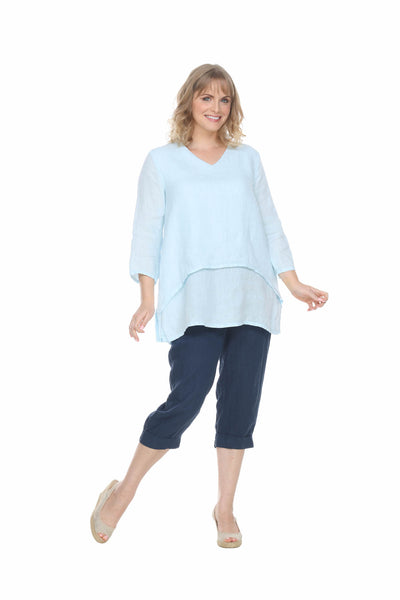 Linen Vneck Dbl Layer Top Match Point Canada