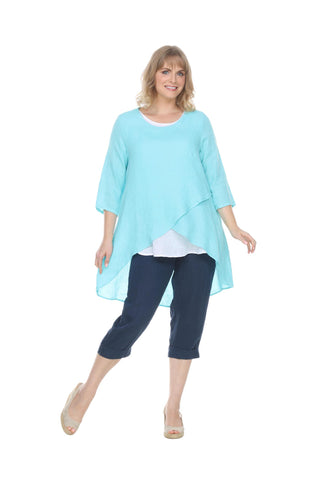 Linen 3/4 Slv Crossover Tunic Match Point Canada
