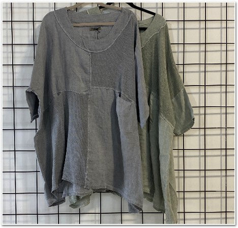 Linen Cotton Patchwork Top Tops - The Post Office by Shannon Passero. Fashion Boutique in Thorold, Ontario