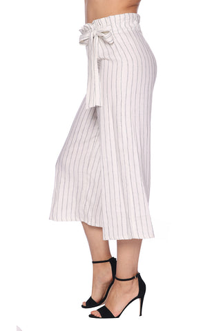 Striped Linen Wide Leg Crop