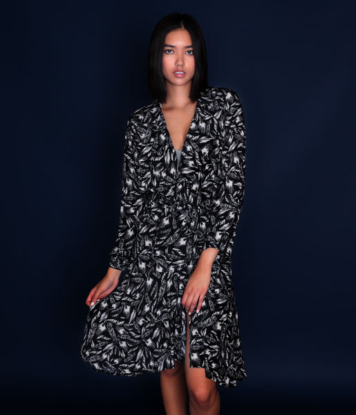 Feather Printed Trench Coat