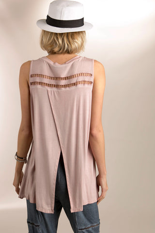 Overlapped Back Cutout Top