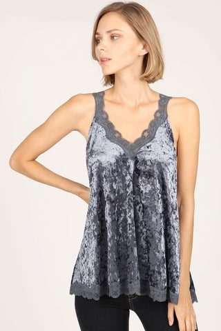 Lace Velvet Cami Top POL Clothing Canada