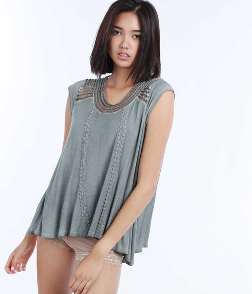 Woven Panel Top POL Clothing Canada