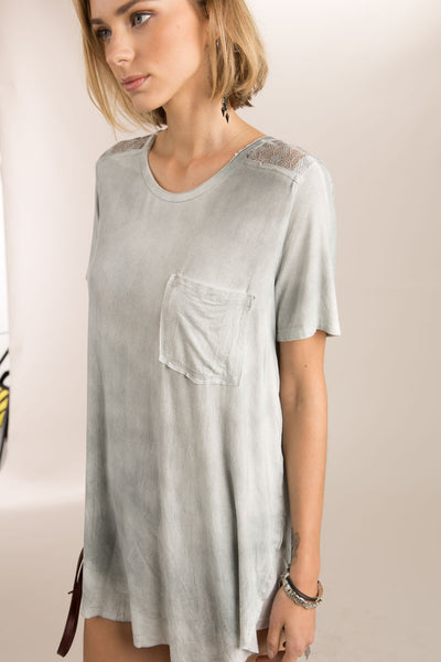 Sheer Lace Panel Top POL Clothing Canada