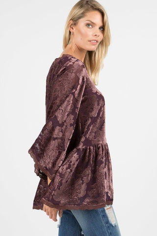 3/4 Sleeve Ruffle Velvet Top