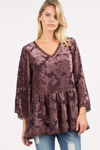 3/4 Sleeve Ruffle Velvet Top in Mauve