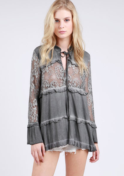 Lace Panel L/S Ruffle Top POL Clothing Canada
