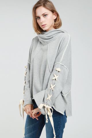 Terry Lace Up Sleeve Hoodie