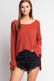 Slit Sleeve Boatneck Sweater