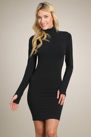 Mockneck Thumbhole Dress