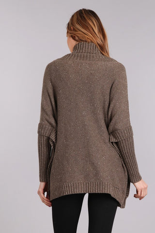 L/S Turtleneck Poncho Sweater