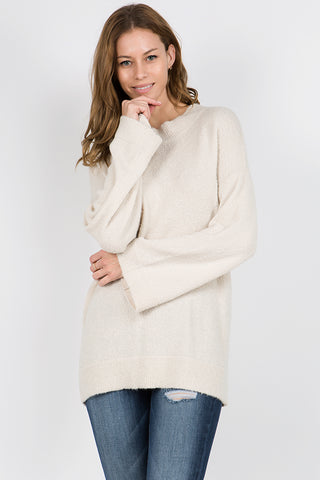 Mock Neck Bouclé Sweater M Rena Ivory