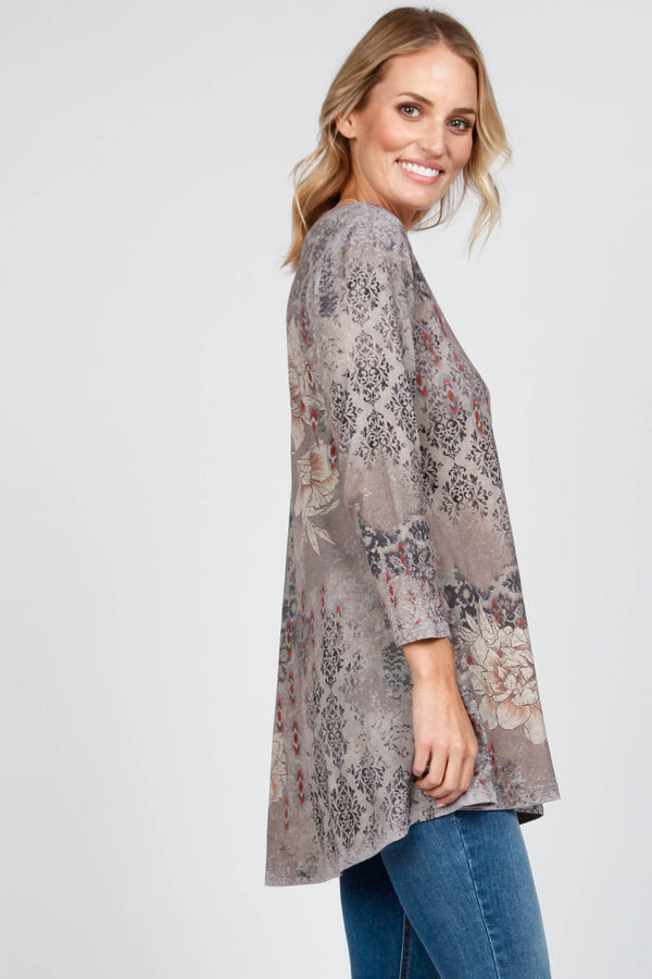 3/4 Sleeve Tunic w/ Eve Print Tops - The Post Office by Shannon Passero. Fashion Boutique in Thorold, Ontario