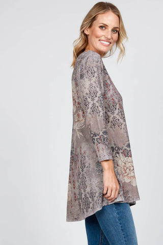 3/4 Sleeve Tunic w/ Eve Print