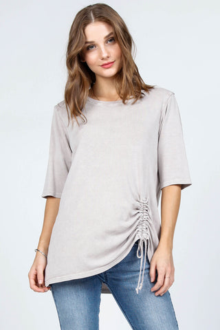 Ruched Front Elbow Sleeve Top