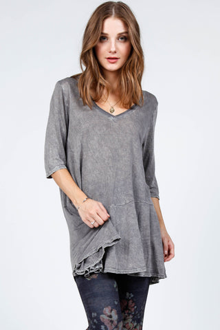 Vneck Mineral Wash Elbow Slv