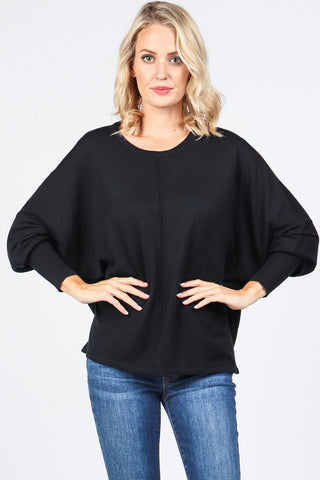 Round Neck Dolman Sweater Top