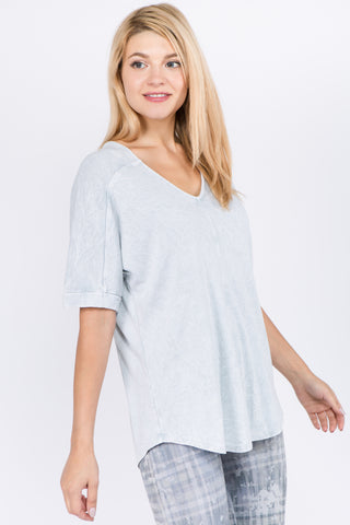 Mineral Wash Vneck Dolman Top