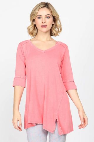 Mineral Wash V-Neck Slit Tunic