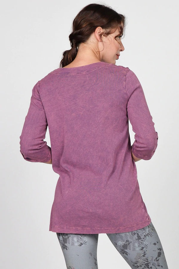 Mineral Wash 3/4 Sleeve Top Tops - The Post Office by Shannon Passero. Fashion Boutique in Thorold, Ontario