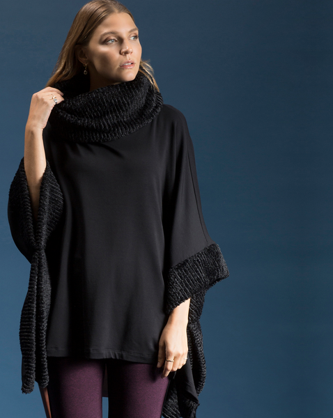 Shannon Passer Square Poncho with Faux Fur Detail in Black