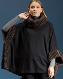 Shannon Passer Square Poncho with Faux Fur Detail