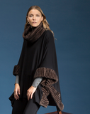 Side View of Shannon Passer Square Poncho with Faux Fur Detail