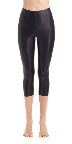 Faux Leather Capri