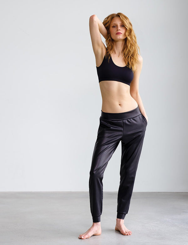 Faux Leather Jogger Bottoms - The Post Office by Shannon Passero. Fashion Boutique in Thorold, Ontario
