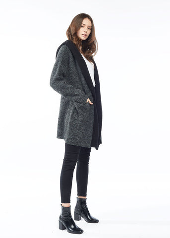 Layered Hooded Cardigan
