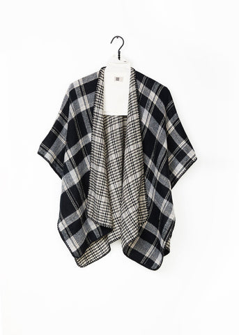 Reversible Plaid Poncho