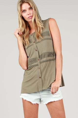 Sleeveless Button Down Hoodie POL Clothing Canada