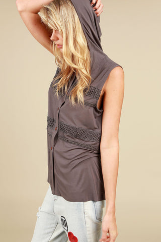Sleeveless Button Down Hoodie