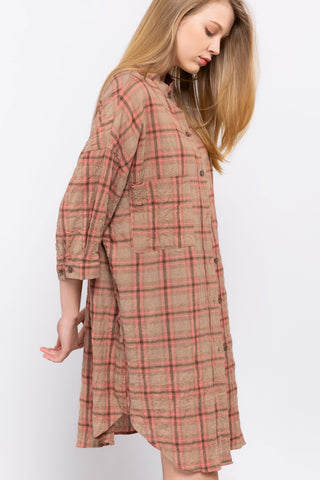 Pink Plaid Tunic Shirt