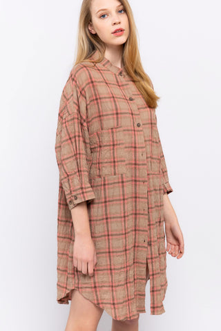 Pink Plaid Tunic Shirt POL Clothing Canada