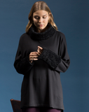 Fleece with FauxFur Cowl Tunic by Shannon Passero Design in Black
