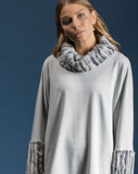 Fleece with FauxFur Cowl Tunic by Shannon Passero Design in Grey/Silver