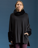 Fleece with FauxFur Cowl Tunic by Shannon Passero Design in Black/Ribbing