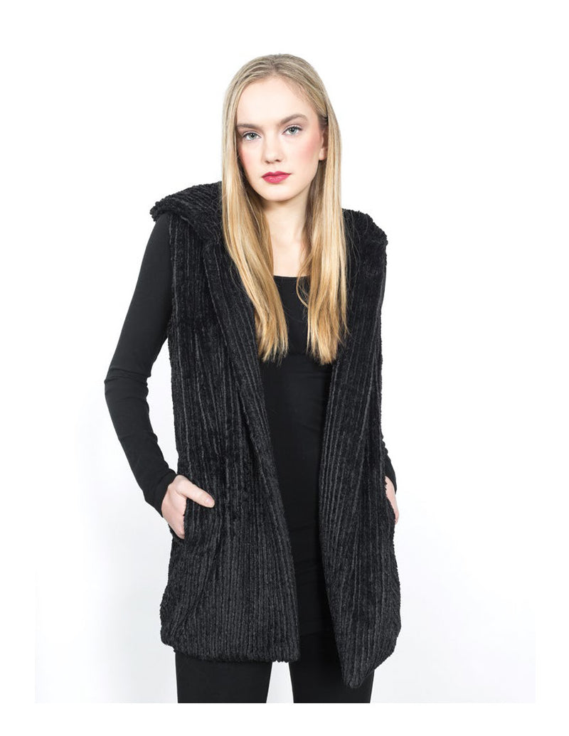 Hooded Faux Fur Vest Tops - The Post Office by Shannon Passero. Fashion Boutique in Thorold, Ontario