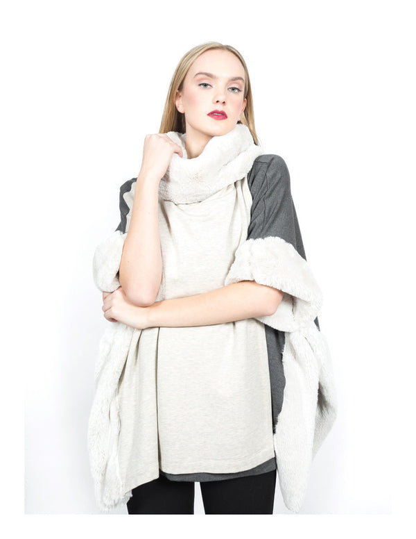 Fleece Cowl Poncho w/ Faux Fur Tops - The Post Office by Shannon Passero. Fashion Boutique in Thorold, Ontario