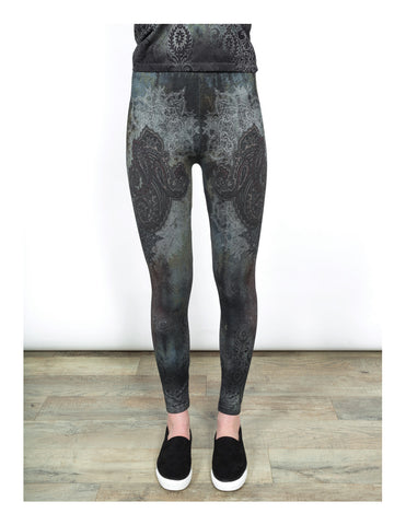 High Waist Leggings-Paisley Coral by Shannon Passero