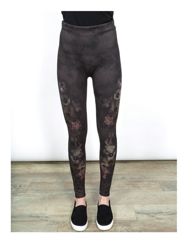 High Waist Leggings-Shadowy Garden by Shannon Passero