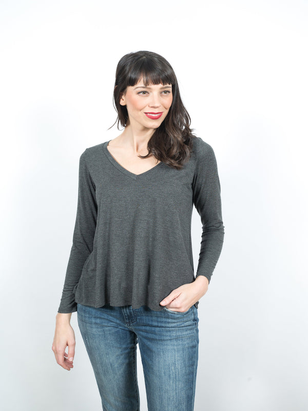 Brooke Long Sleeve Vneck Tops - The Post Office by Shannon Passero. Fashion Boutique in Thorold, Ontario